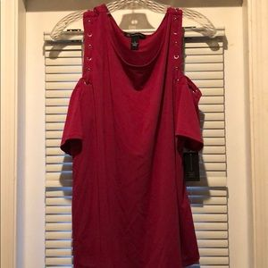 Pink blouse with shoulder cut outs